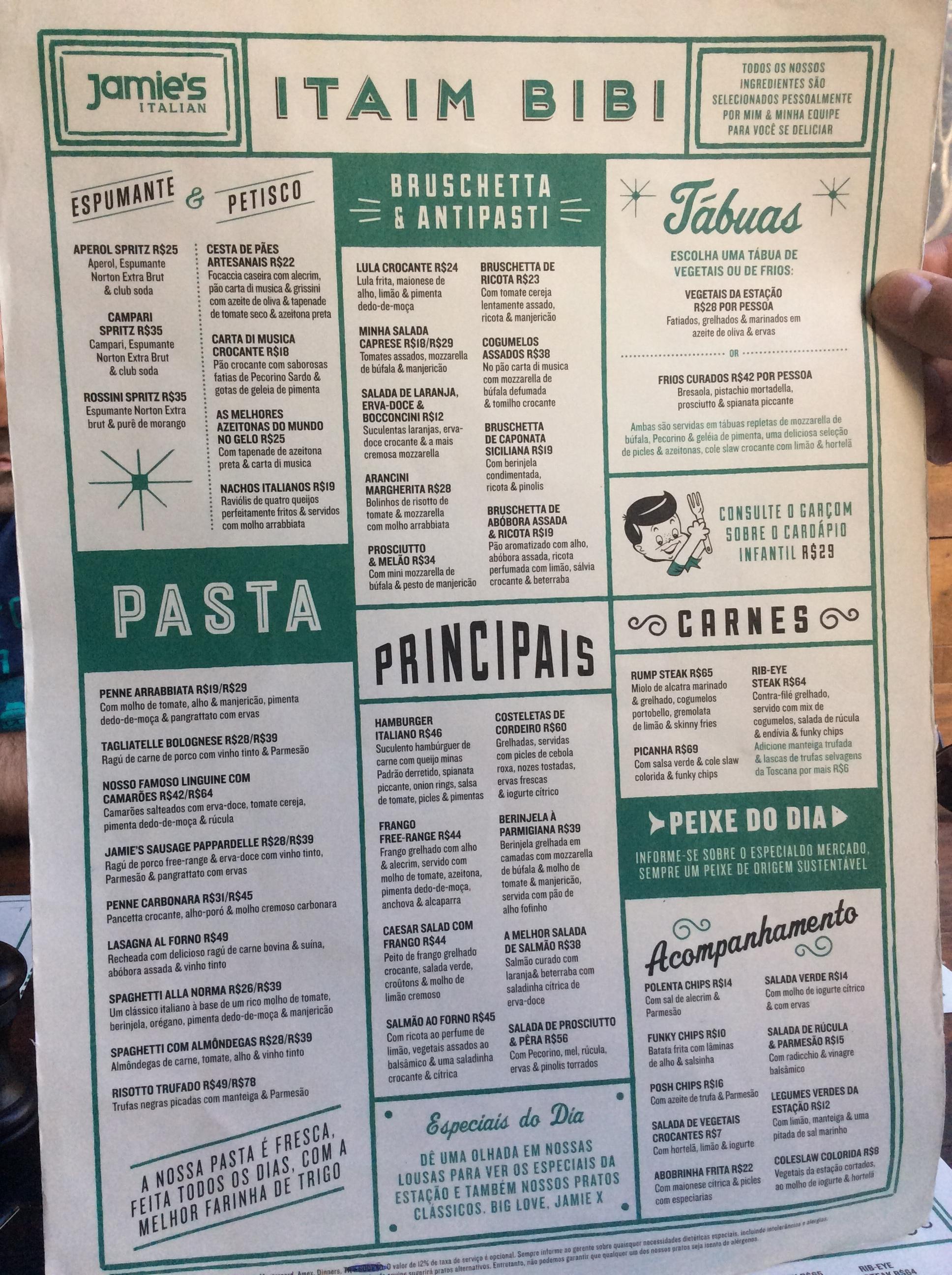 Cardápio do Restaurante Jamie Oliver em São Paulo